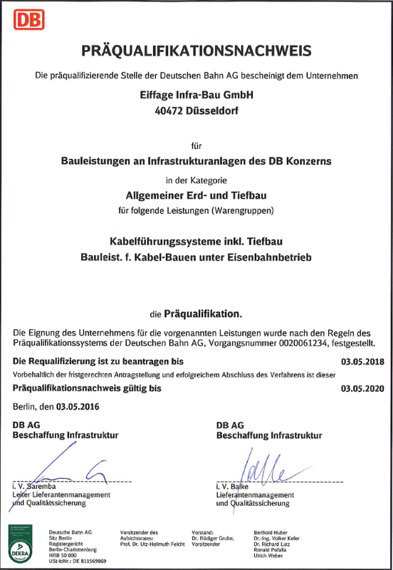 Certificate for prequalification German Railways earth work and underground engineering