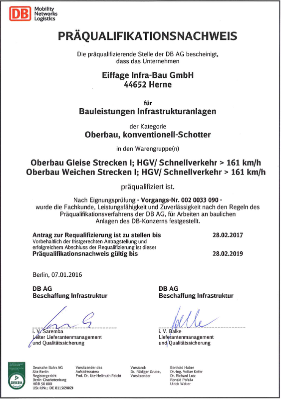 Certificate for prequalification German Railways rail track system